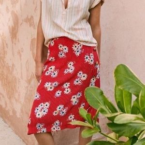 Madewell midi red floral skirt